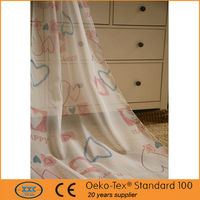 lovely heart design print voile fabric kid's shower curtains