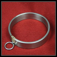 Newest stainless steel sexy collar with lock for female metal traction manacles adult product sex toy