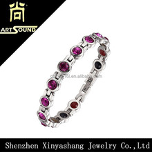Mens multi-color crystal good health bracelets with negative ion