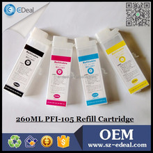 260ml PFI-105 refillable ink cartridge for Canon IPF 6300 6350 printer with auto reset chip