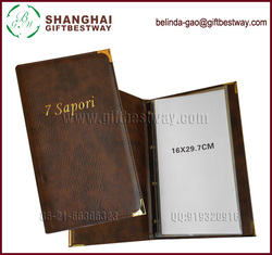 High quality new style changeable restaurant menu book design