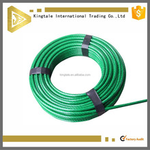 7x7 green pvc coated electro galvanized steel wire rope