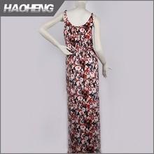 2015 Top qualité pour utilisation à domicile belle robe longue motif de fleurs en mousseline de soie nouveau style