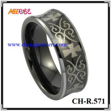 Comfort Fit 8mm Laser and Grooved Men Tungsten Rings