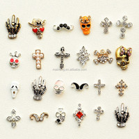 Skull hand & skull nail stickers for metal finger nailsand nail accessories