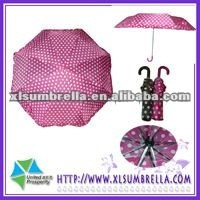 3 folds ladies umbrella and fancy parasol with dot