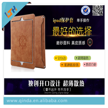 2015 Newest polishing Leather super thin Cover case For Ipad with handle antislip
