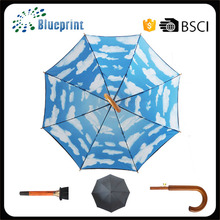Double-layer Inside Blue Sky Rolling Printing Wooden Stick Umbrella