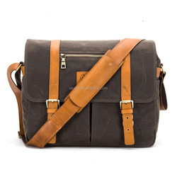 Men Waterproof Vintage Leather and Waxed Canvas Leather Messenger Bag,