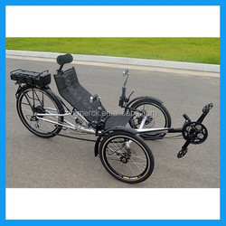 electric powered recumbent tricycle with suspension