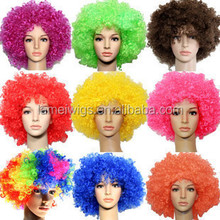 Explosion colorful Football Fan Wigs Curl mix color Party supplies Clown fancy dress wig wholesale