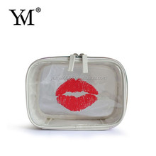 2015 Fashion Beautiful Lip Shaped Clear PVC Cosmetic Bag
