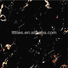 2015 nuevo diseño de oro& flor negro, portoro pulido completo azulejo de piso esmaltado