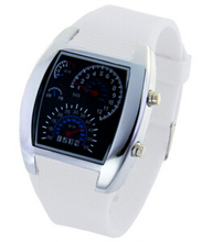Factory price Men's Blue LED Speedometer Light Aviation Pilot Binary Digital Wrist Watch