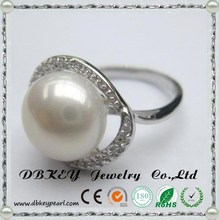 925 Sterling Silver pure natural freshwater pearls inlaid diamond ring exquisite for lady