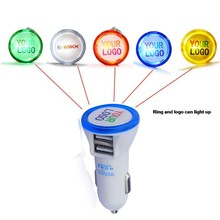 portable dual usb car charger with led lighting logo