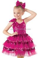 MB2015194 Cute sequin Puffy Ruffles hot pink leotard costume child ballet dress