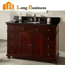 LB-LX2026 High glossy black solid wood bathroom vanity storage, custom bathroom cabinets