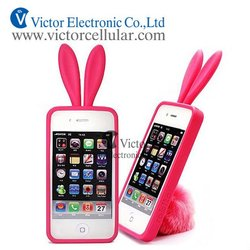 Lovely Rabbit Design Silicone Cell Phone Case For Apple iPhone 4G