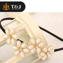 Customize new arrival designs fashion flower rhinestone metal hair accessory headwear high quality pearl lace front hair band