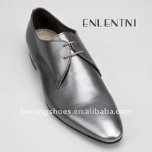 Hot selling men flat heel dress shoes silver color
