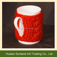 W-582 fashion hand knitted cup cover for crochet mug sleeve