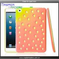 Red Strawberry TPU Plastic 3D Silicon Case Cover for iPad mini MT-1292