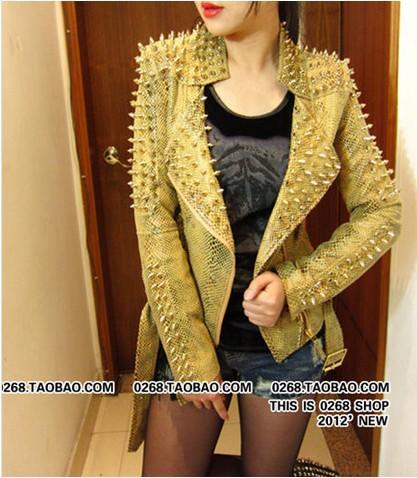 2016 Wholesale 2015 New Women Gold Jacket Women Fashion Pointed
