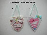 Set of 2 Welcome Sign Spring Garden Heart Ornament