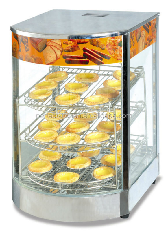 Glass Food Warmers ~ Curved glass electric food warmer cabinet heated