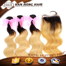 unprocessed virgin two tone ombre colored hair weave bundles synthetic hair extension