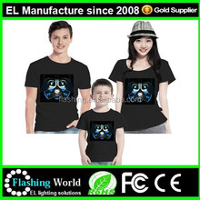 Creat your own brand logo sound activated el t shirt