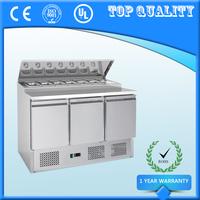 Three Door Commercial Salad Bar Refrigerator