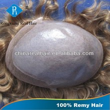 Factory Wholesale Price Invisible Thin SKin indian remy human hair toupee