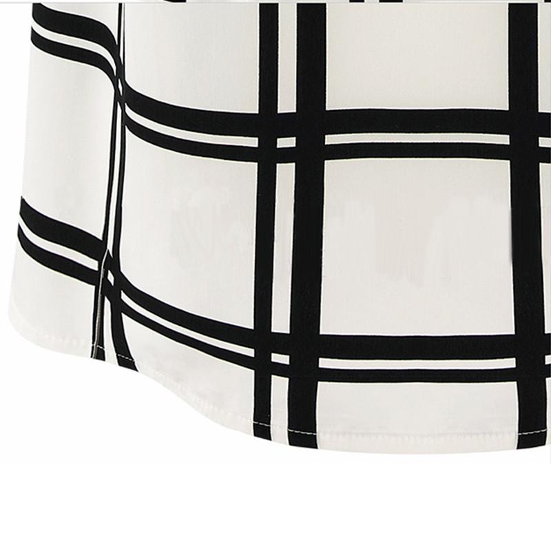 короткий рукав блузки женской моды ol стиле шею черно-белые сетки рубашку e3087 #m4