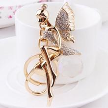 Metal Angel Wings Sexy Goddess Rhinestone Design Key Chain Keyring