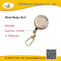 Retractable key ring reel chain, steel yoyo badge reel