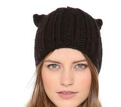 Godbead Woman's Hats Cat Shape Knitting Wool Lady's Headwear Fashion Ear Muff