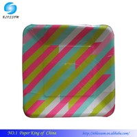 """9"""" Square Printed Disposable Dinner Paper plate"""