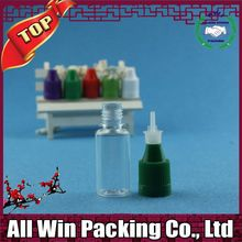 new product empty 5 10 20 30ml PET e juice bottles and boxes with long tip white flat childproof cap