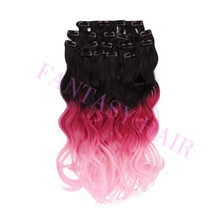 Guangzhou factory japanese kanekalon fiber synthetic hair double drawn clip in hair extension