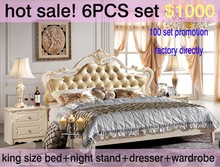 2015 factory promotion pearl white wooden carved gold leaf king size bed 6PCS french wedding bedroom home furniture set