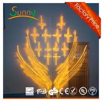 CE/RoHS high power solar LED street motif light/christmas wreath motif pole mounted decoration light