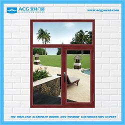 Bulk price Top selling dark wood color aluminum casement window