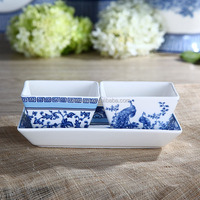3.5 Inches Elegant Style New Bone China Ceramic Square Bowl of Blue in China