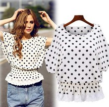 Z84658A 2015 fashion design newest chiffon dots ladies TOPS
