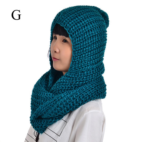 Neckerchief Winter scarves Necklace women warm cap hat hood scarf winter knit scarf circle loop knitted with hoodie scarf NL2164