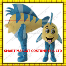 Giant soft plush tropical fish mascot costume in blue and yellow tropical fish mascot costume