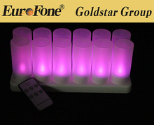 2105 più nuovo disegno colore viola led ricaricabili funzione di controllo remoto candela tealight