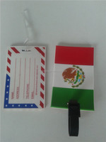 rubber 2D embossed Mexico flag luggage tag
